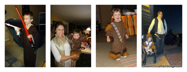Jedi, Princess Leia, Chewbacca and Hans Solo Family Costume