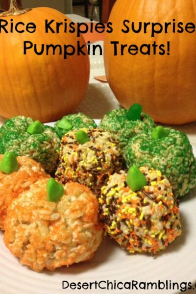 Rice Krispies Pumpkin Surprise Treats {Recipe}
