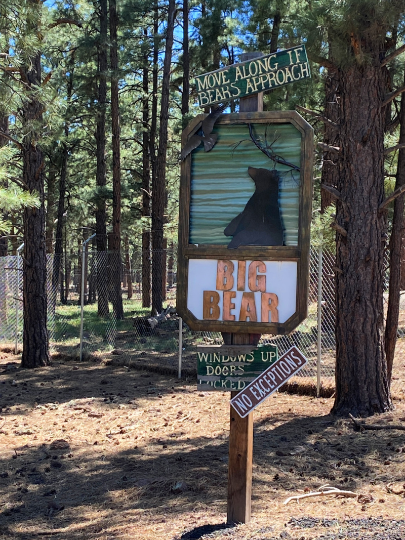 Sign stating 'big bear' with a picture of a bear on it.