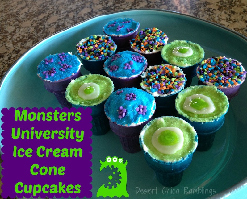 Monsters University Ice Cream Cone Cupcakes - Super easy