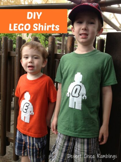 two boys wearing shirts with LEGO minifigues on them