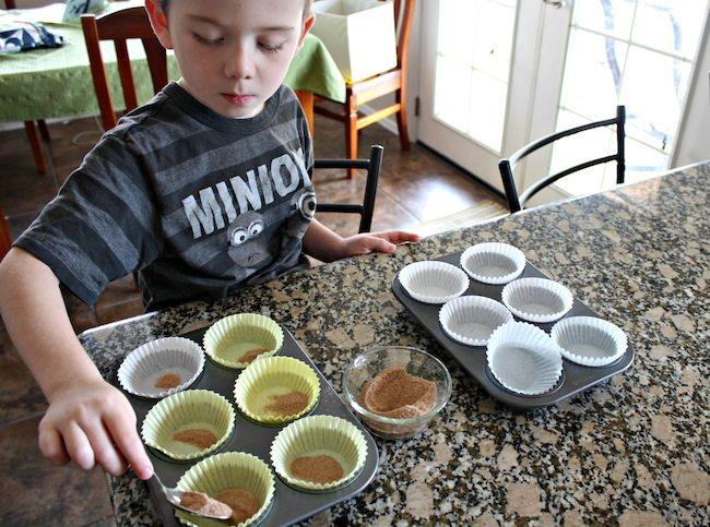 Pumpkin Snickerdoodle Muffins kids helping