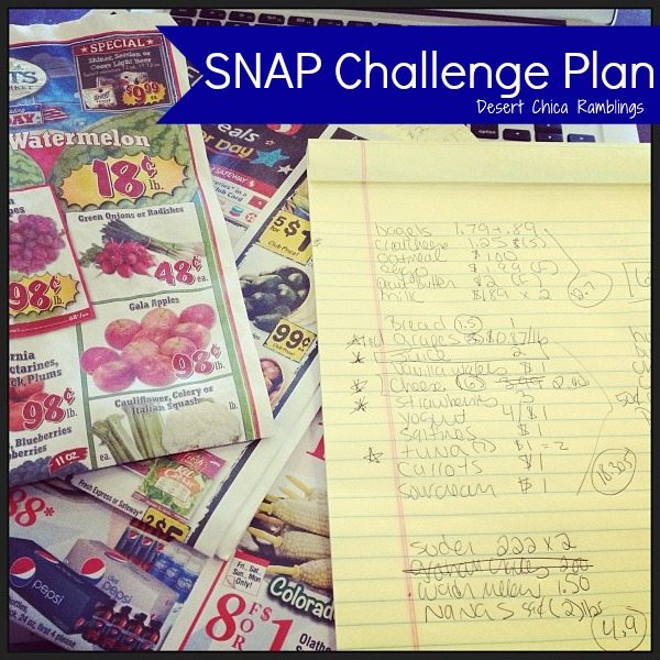 Snap Challenge Menu Plan