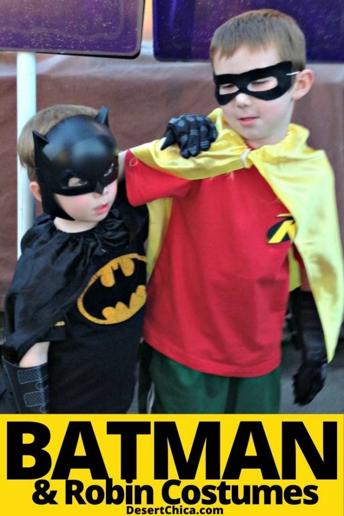 Kids dressed at batman and robin