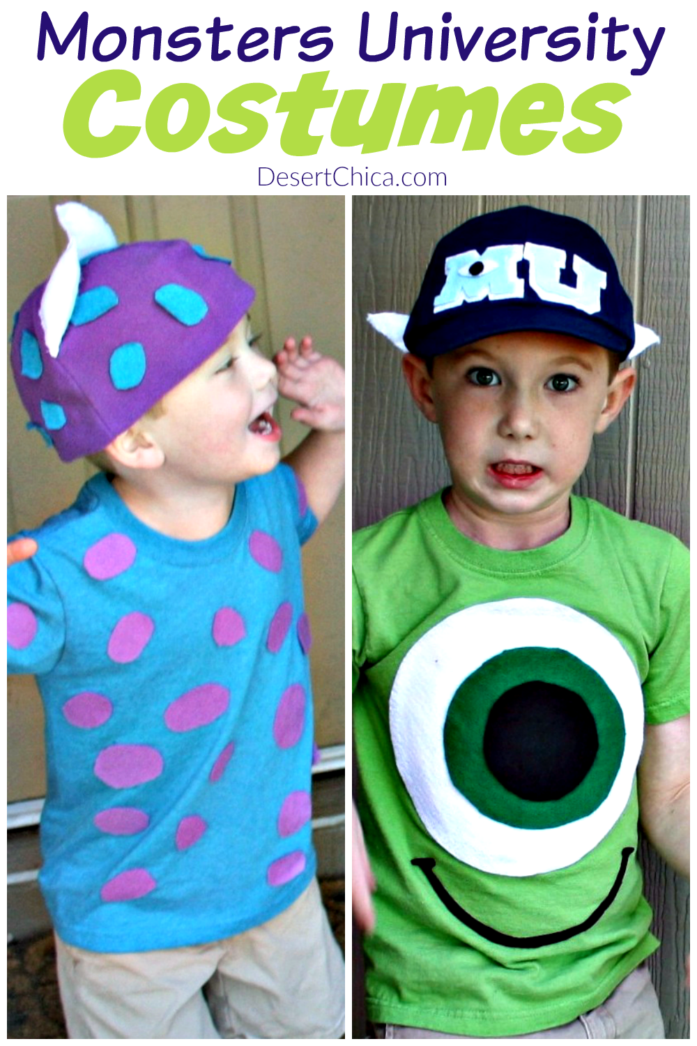 DIY Monsters Inc Costume ideas and tutorials including Mike and Sulley or Sullivan perfect for kids, teens, best friends, toddlers, adults or college friends. Learn how to make these easy homemade costumes that include an awesome hat perfect for Halloween.