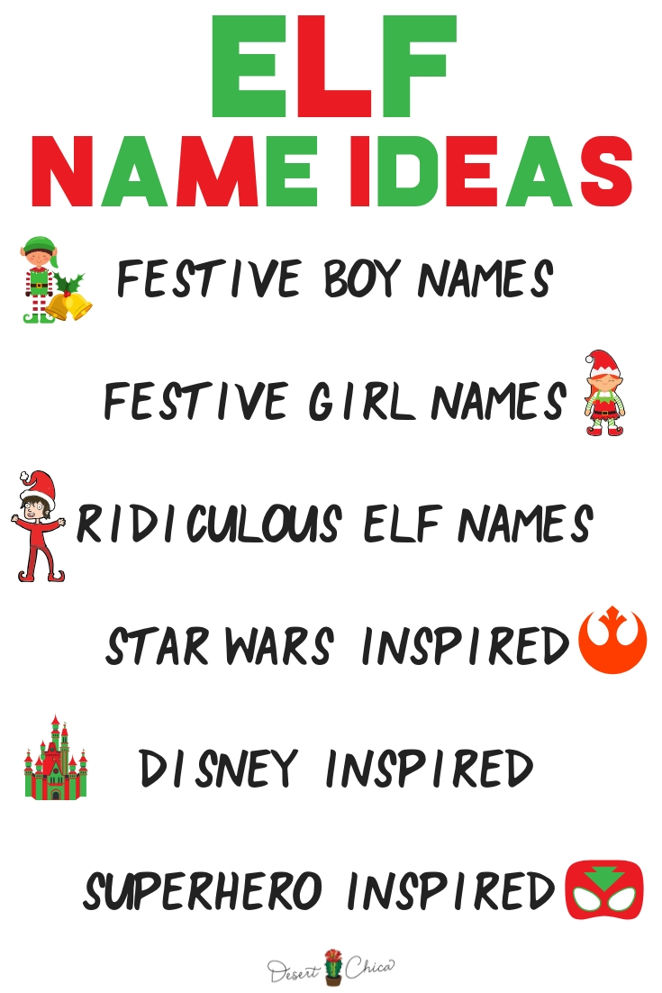 Christmas Elf Names.Elf On The Shelf Names Desert Chica
