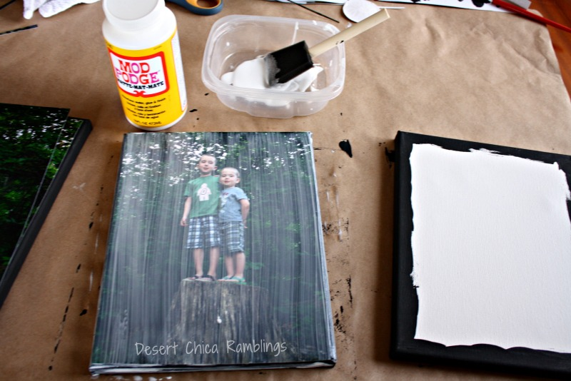 DIY photo canvas with mod podge
