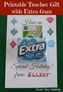 Printable Teacher Gift with Extra Gum