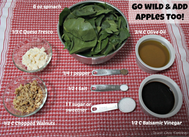 Spinach salad Ingredients