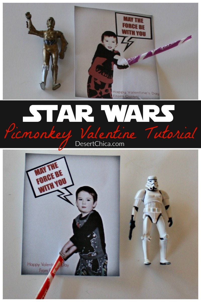 Turn your child into a Jedi complete with a fun lightsaber with these fun Star Wars Valentines. They are easy to make using Picmonkey.