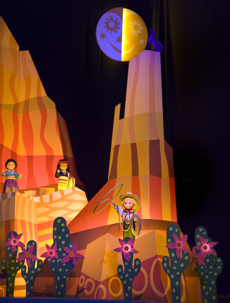 Cowboy adventures in It's a Small World include a Lassoing Cowboy, Jessie and Woody at Disneyland during Rodeo Break
