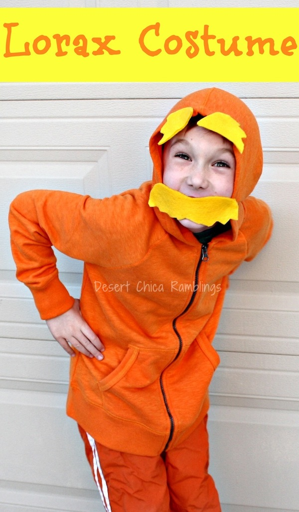 Easy DIY Lorax Costume from Sweatshirt