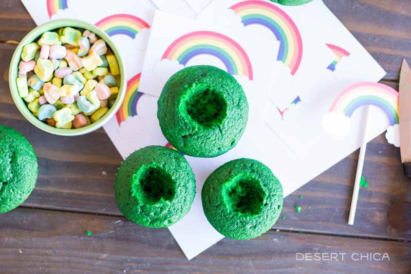 Fill the center of the cupcakes with marshamallows from Lucky Charms Cereal for an extra fun St. Patrick's Day surprise
