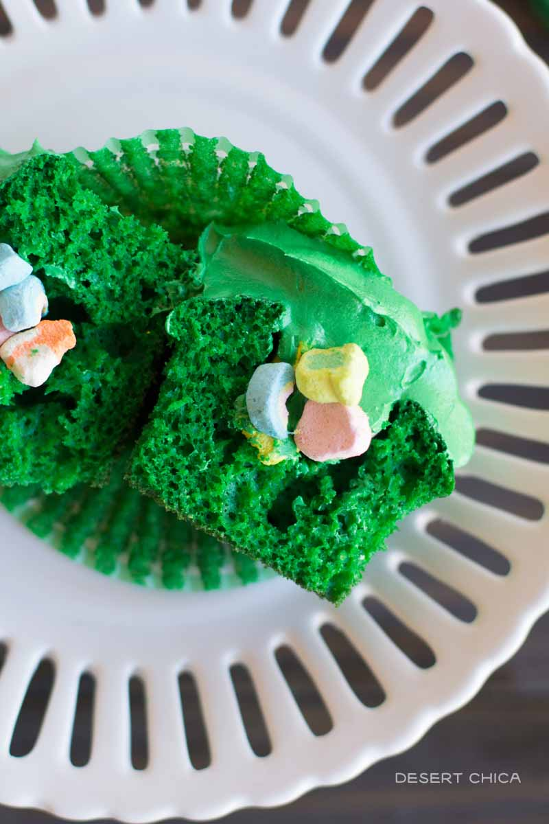 Lucky Charms marshmallows hidden inside St. Patrick's Day cupcakes
