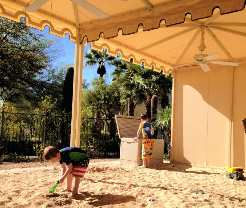Covered sand box area at Scottsdale Princess