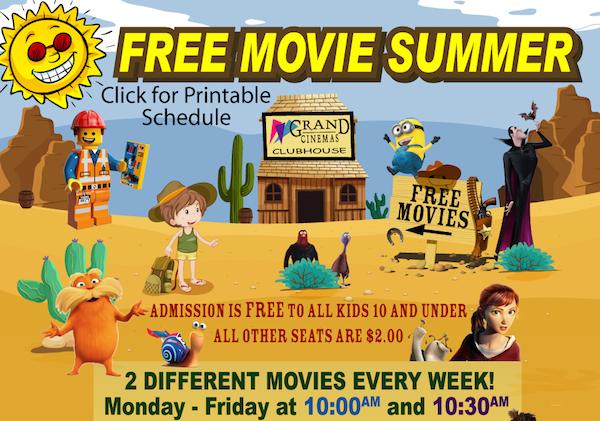 Free kids movies in Tucson at Grand Cinemas