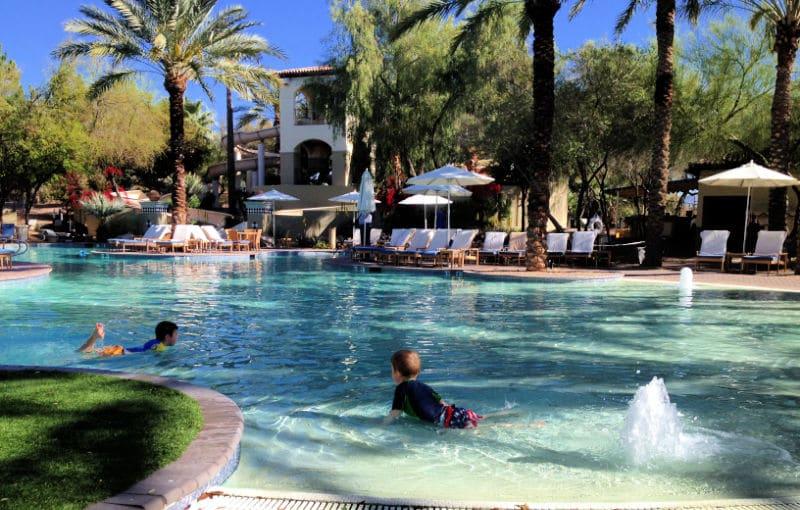 kids playing in zero entry pool at Scottsdale Princess Resort
