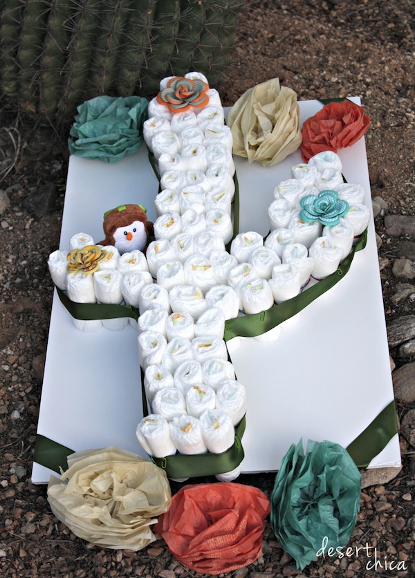 Create a cactus diaper cake with baby diapers desert chica diy cactus diaper cake shop publicscrutiny Image collections