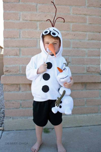 Homemade Olaf costume with a hooded sweatshirt