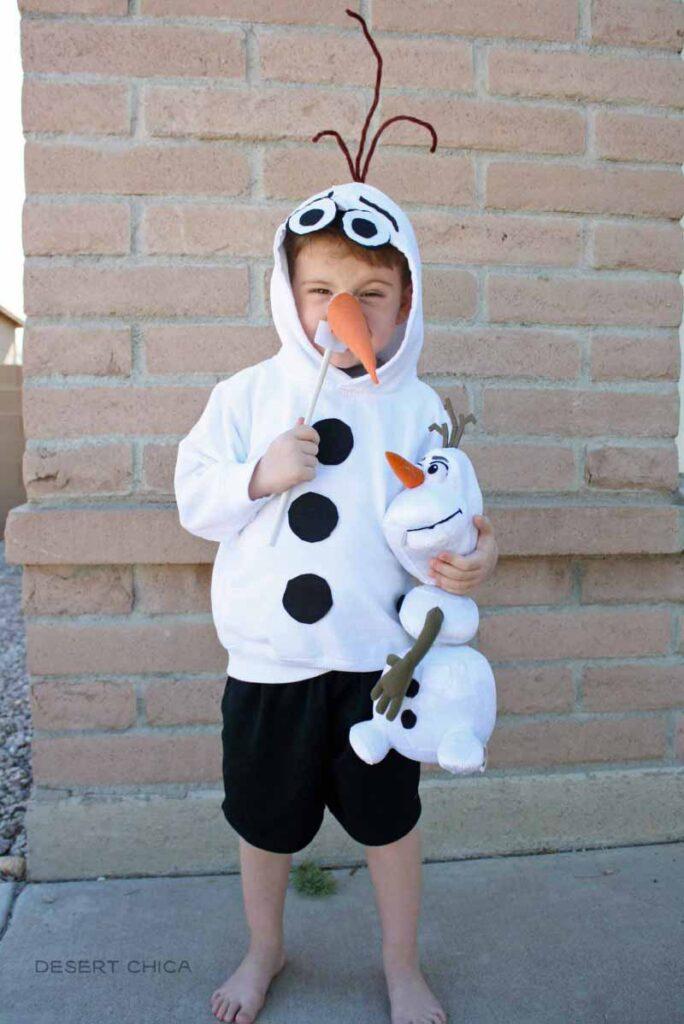 Homemade Olaf costume with a hooded sweatshirt