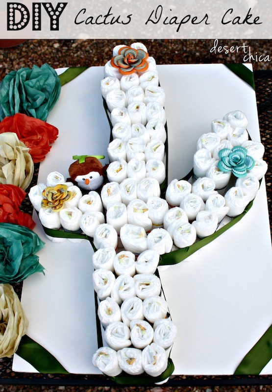 Need a unique diaper cake idea? Check out this how to make a Cactus Diaper Cake Tutorial