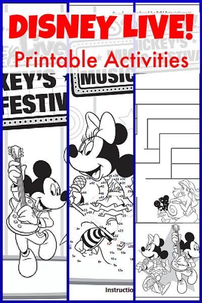 Disney Live Printable Activities