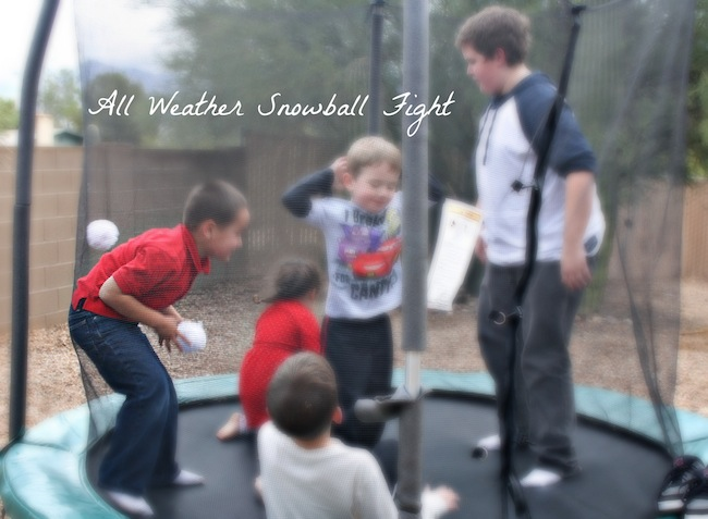 All weather snowball fight with northpole toys
