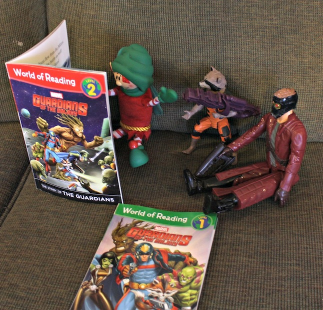 Guardians of the Galaxy reading with elf