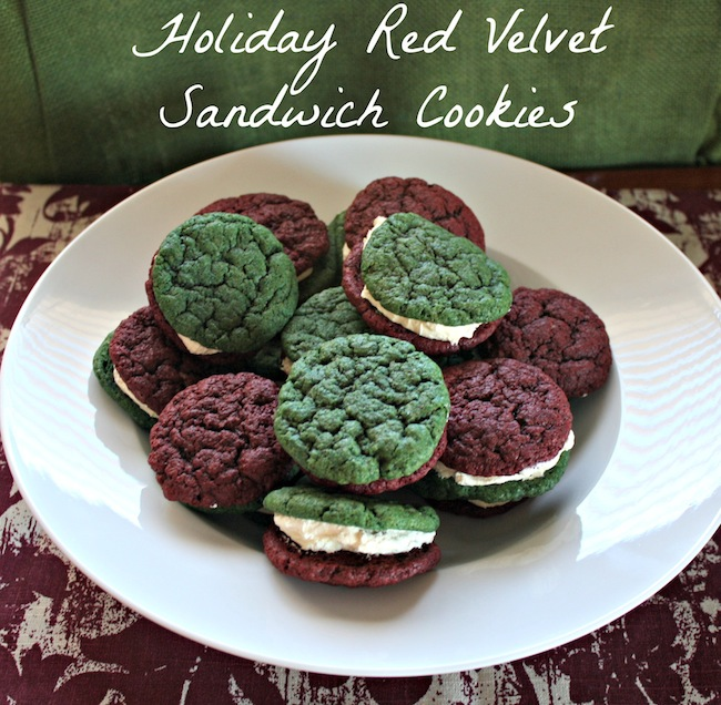 Holiday Red Velvet Sandwich Cookies - Easy Cake Mix and Cream Cheese Frosting Recipe