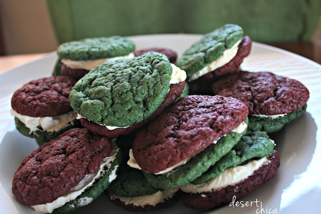 Holiday red velvet sandwich cookies with cream cheese filling