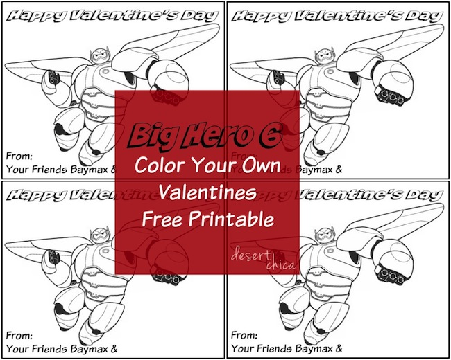 Final Color Your Own Baymax Valentines Big Hero 6 Pinterest