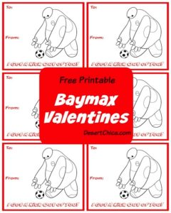 Free Printable Final Big Hero 6 Baymax Soccer Valentines
