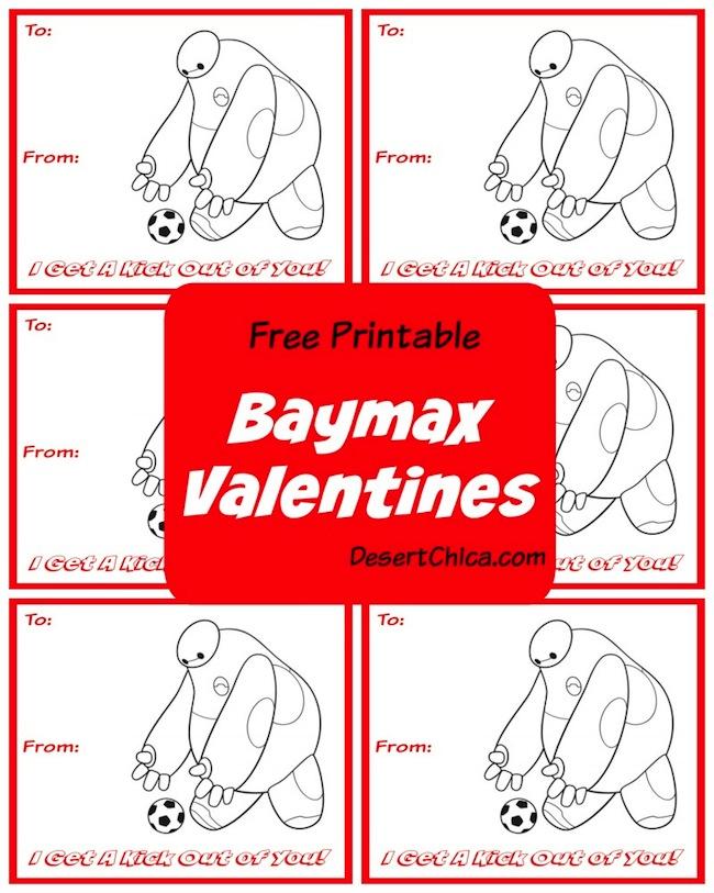 Free Printable Final Big Hero 6 Baymax Soccer Valentines