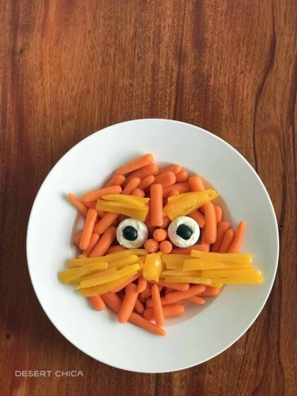 Lorax Veggie Tray to celebrate Read Across America Day or Dr. Seuss Themed Party