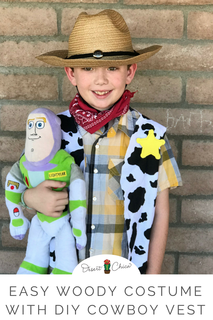 How to make a DIY Woody costume perfect for a baby, toddler, teen, girls, boys, or an adult. Start with an easy no-sew vest using a pattern, add a sheriff badge and grab a couple friends to dress us as Buzz and Jessie and you have the perfect set of homemade Toy Story costumes. Perfect for Halloween, Rodeo, and Disneybounding at the new Toy Story Land at Disney Hollywood Studios.