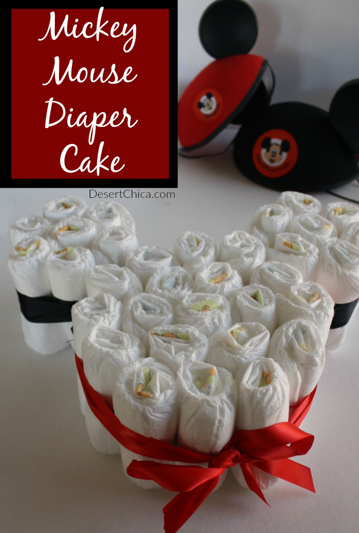 How to make a Mickey Mouse Diaper Cake for Disney themed baby shower