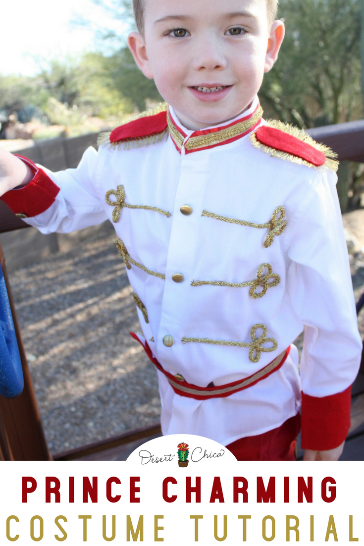 Looking for a DIY fairytale costume for little boys? This homemade Prince Charming costume tutorial is an easy DIY idea, perfect for a baby, toddler or even an adult. It's a no sew and perfect for Halloween or a trip to Disney World or Disneyland. #Halloween #Costume #PrinceCharming #Cinderella