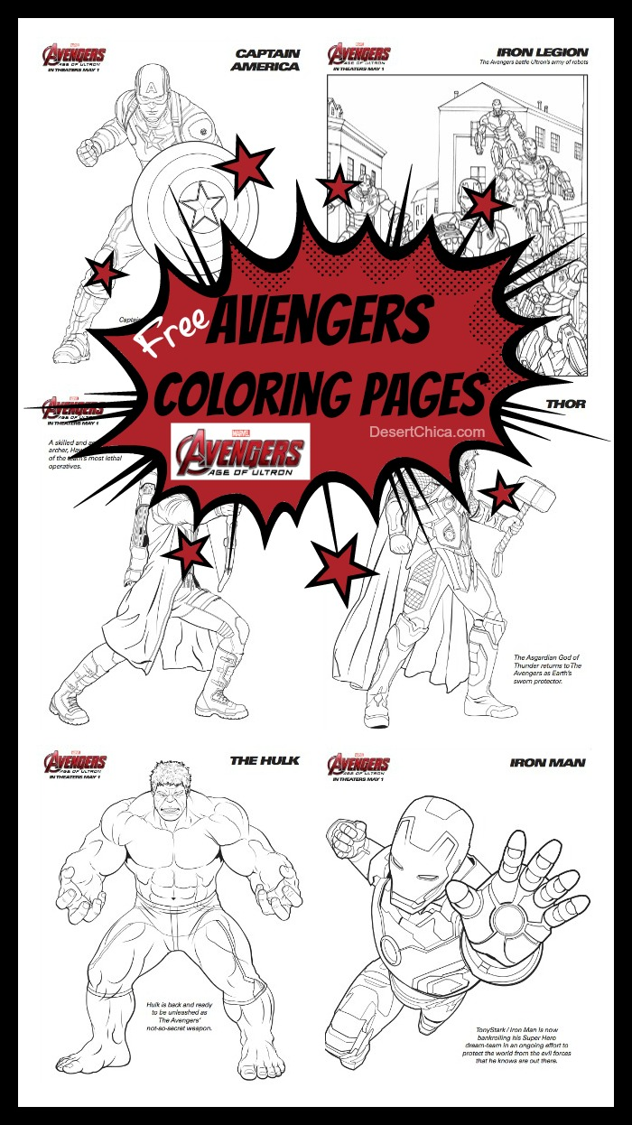 Free Avengers: Age of Ultron Coloring Pages | Desert Chica