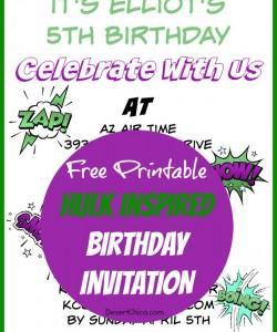 Hulk Birthday Invitations Free Printable Template