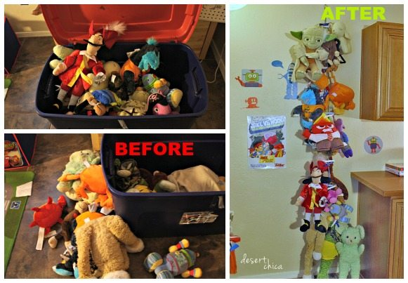 Before and After Stuffed Animal Storage