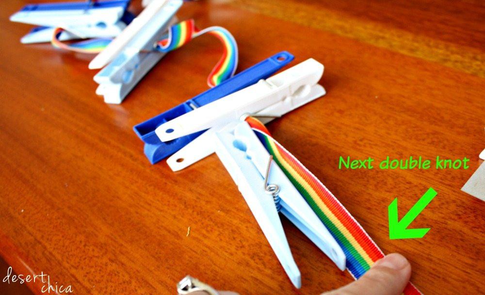 Double knots on ribbon stuffed animal storage