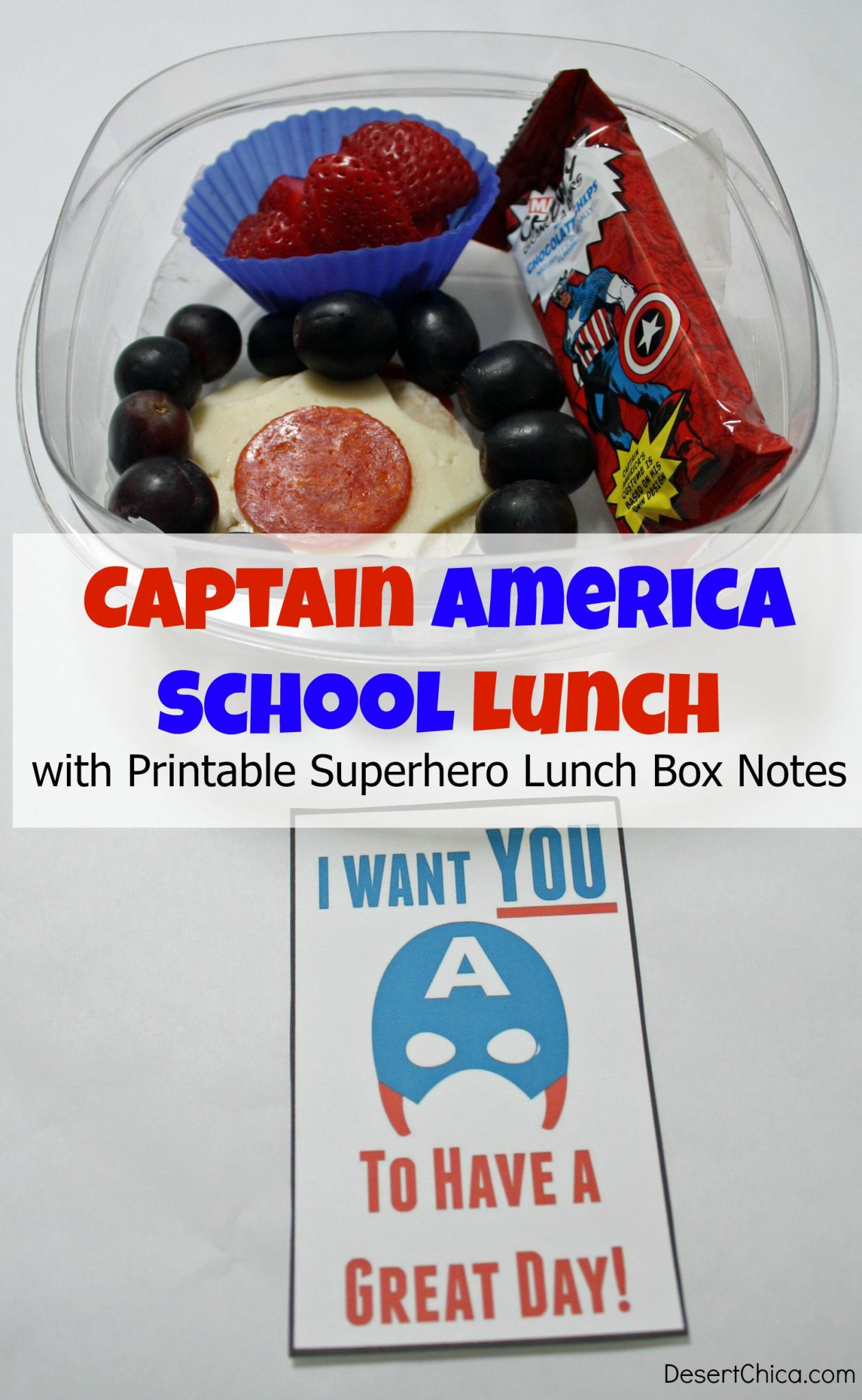 Captain America School Lunch with printable superhero lunch box notes