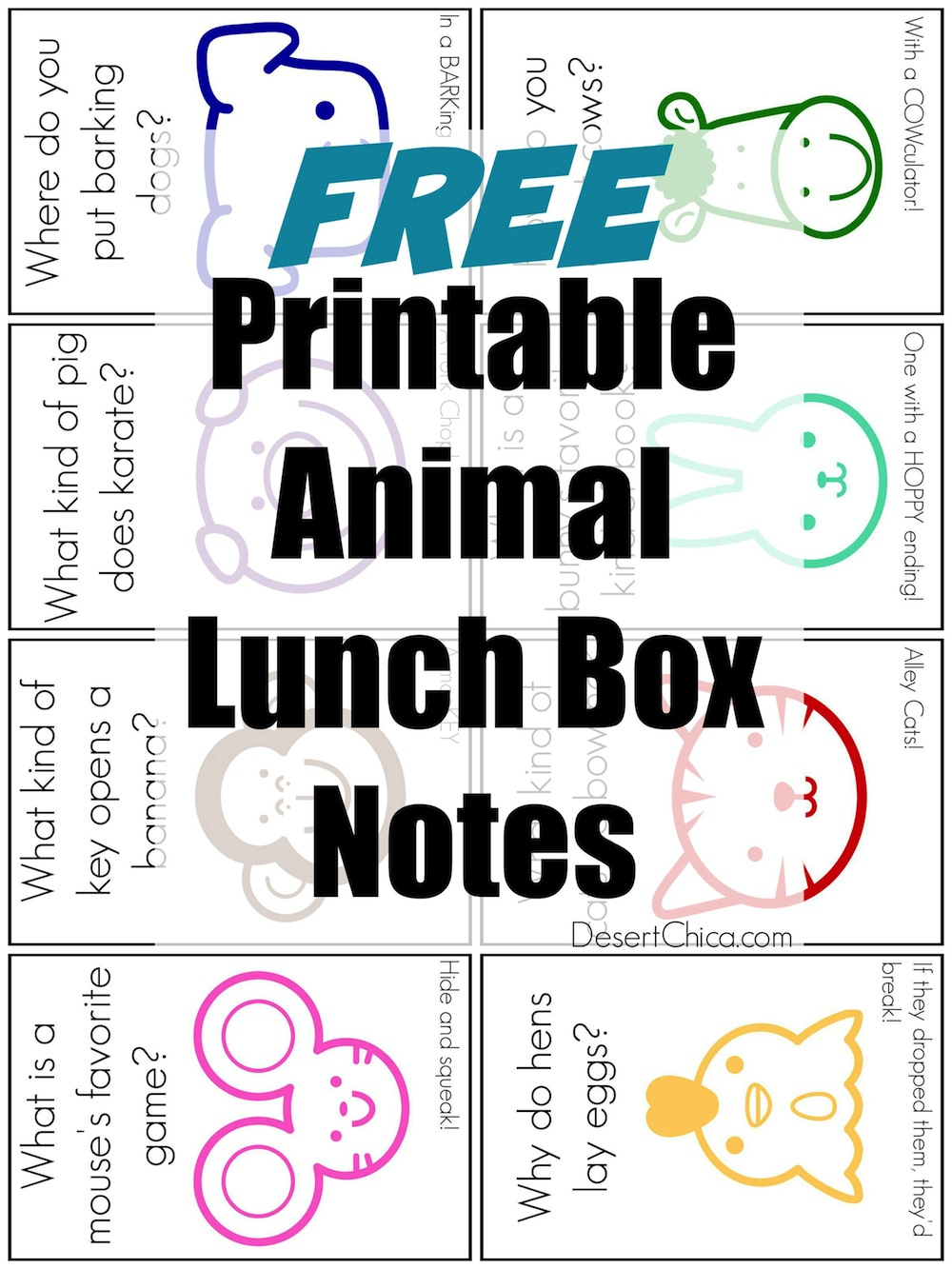 Printable Animal Lunch Box Jokes