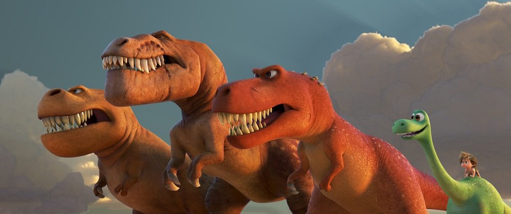 A TRIO OF T-REXES ? An Apatosaurus named Arlo must face his fears?and three impressive T-Rexes?in Disney?Pixar?s ?The Good Dinosaur.? Featuring the voices of AJ Buckley, Anna Paquin and Sam Elliott as the T-Rexes, ?The Good Dinosaur? opens in theaters nationwide Nov. 25, 2015. ?2015 Disney?Pixar. All Rights Reserved.