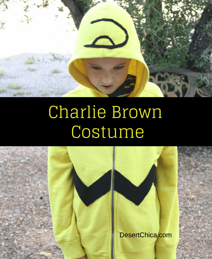 Try making this easy Charlie Brown hoodie for your little Peanuts Fan. It's a super fun Charlie Brown Halloween costume idea.