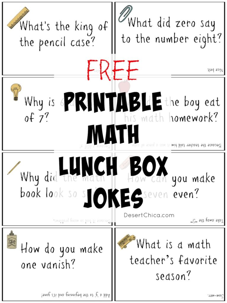 Free Printable math Lunch Box Jokes