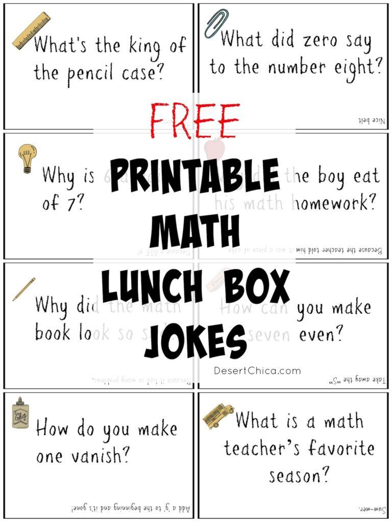 Free Printable math Lunch Box Jokes