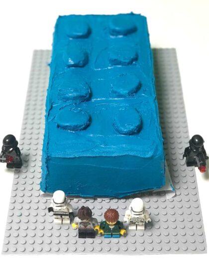 Blue LEGO themed birthday cake