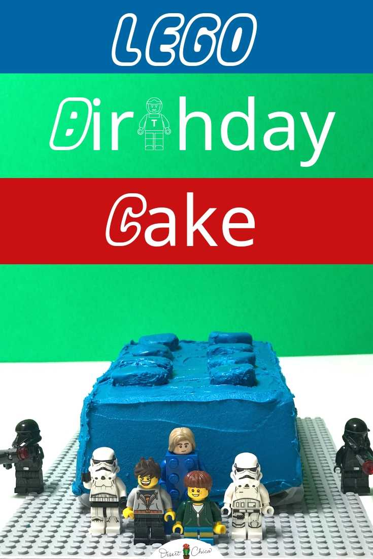 Lego brick birthday cake with LEGO minifigures