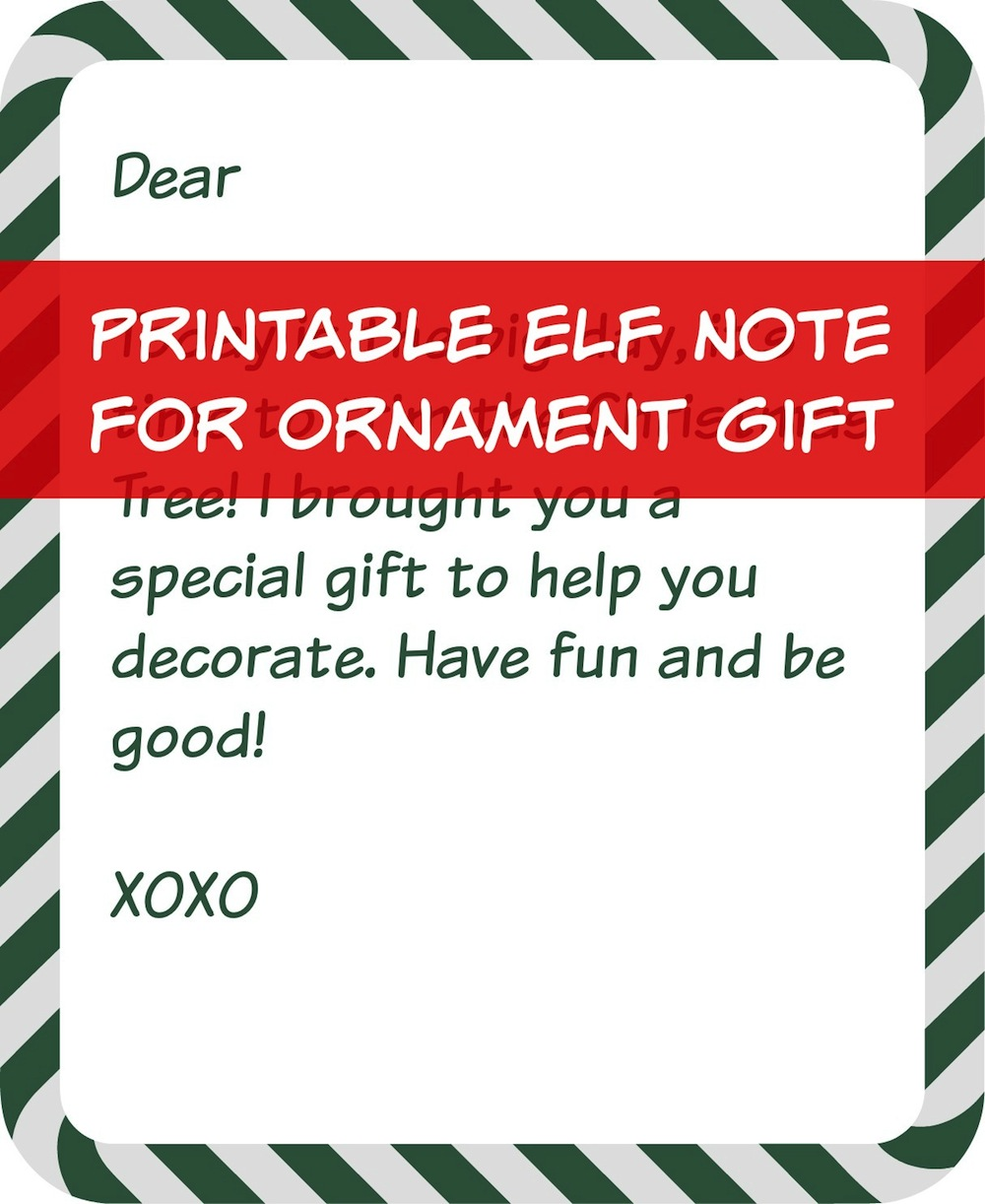 Elf on Shelf Tree Trimming Gift Note